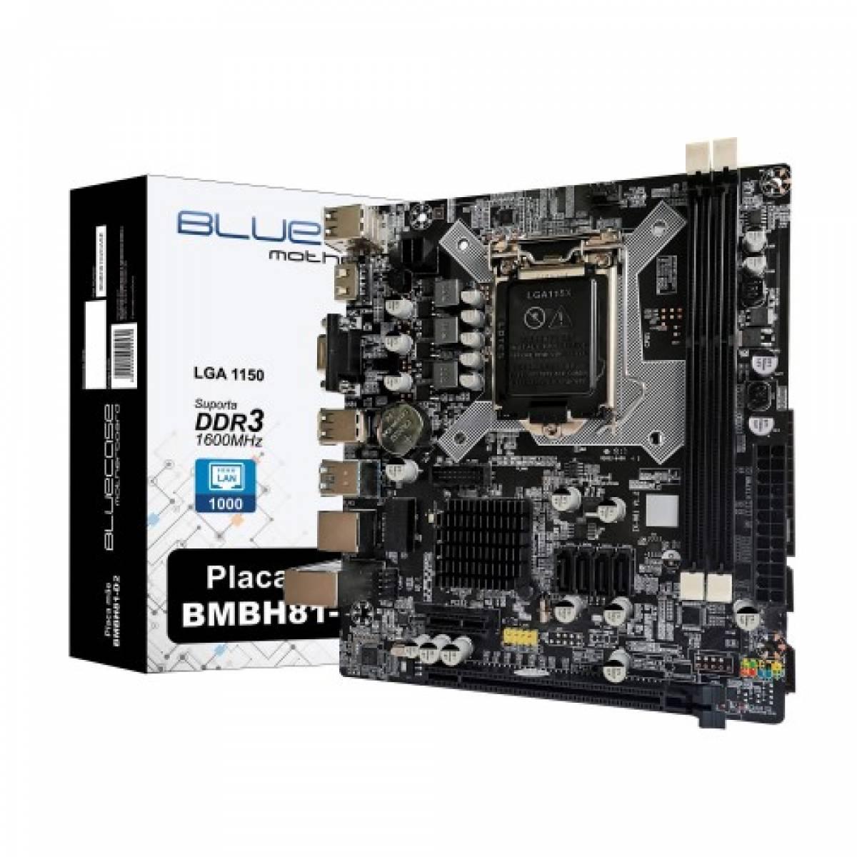 Placa-mãe Bluecase  H81, LGA1150, c/ Rede Gigabit - BMBH81-D2
