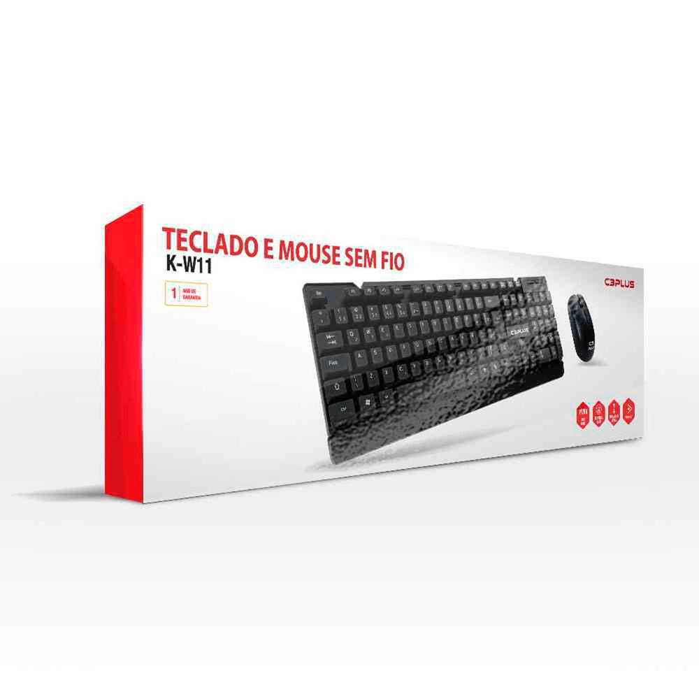 Teclado + Mouse Sem Fio C3Plus, ABNT2 - K-W11BK