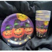Kit Halloween Abóbora = Pratos + Copos - Kit para Festas de Dia das Bruxas - Silver Festas