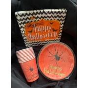 Kit Halloween Aranha = Pratos + Copos + Guardanapos - Kit para Festas - Dia das Bruxas - Silver Festas