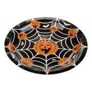 Prato Descartável Halloween Teia E Abóbora - Prato para Festas - Dia das Bruxas - SIlver Festas