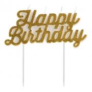 Vela Happy Brithday Glitter Dourada - Vela de Aniversário - Silver Festas