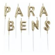 Vela Parabéns Letras Dourada - Vela de Anivesário - Silver Festas é na Pirulito