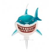 Vela Tubarão 3D -  9cm x 7cm - Vela de Aniversário - Decoração para Bolos - Silver Festas é na Pirulito