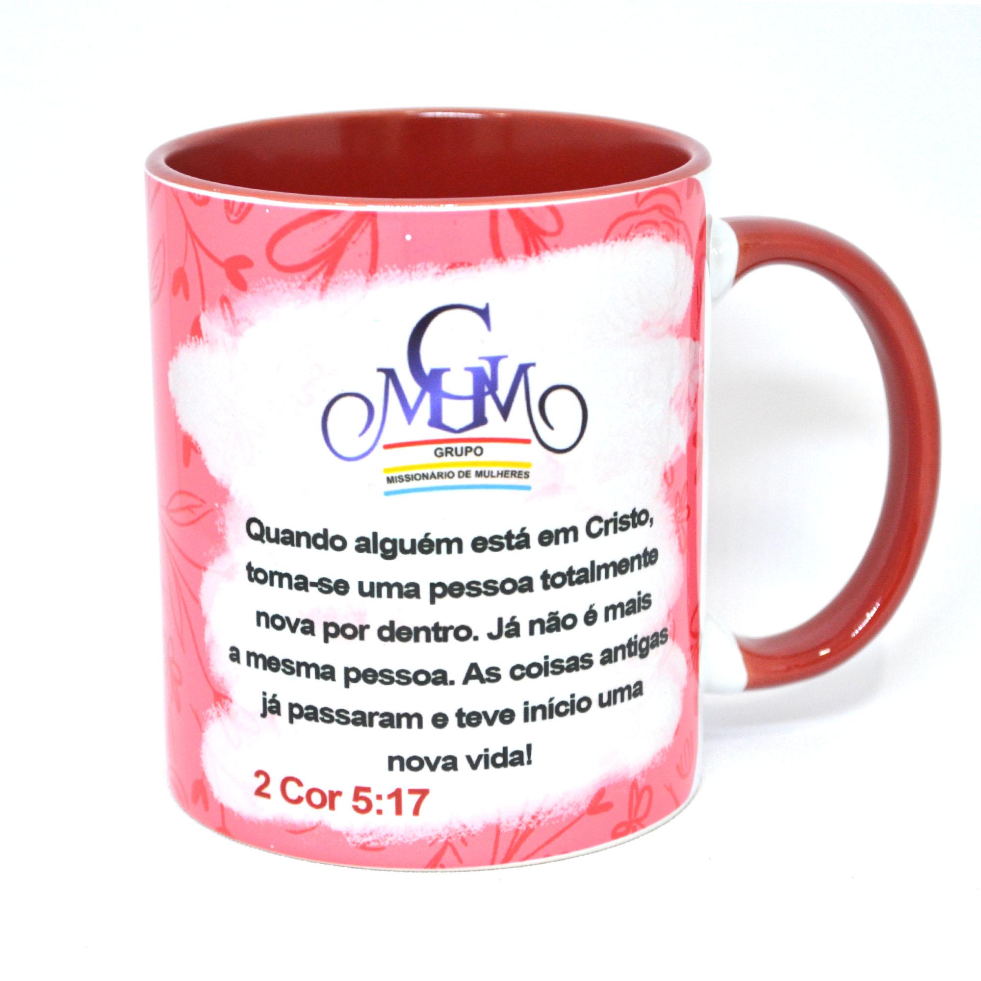 CANECA BRANCA C/ ALÇA E INTERIOR COLORIDO