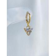 Argolinha   Dourado   Pingente Triângulo   Cristal