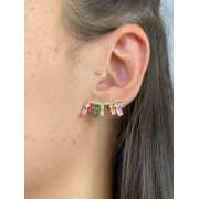 Brinco   Ear Cuff  Cravejado   Rainbow