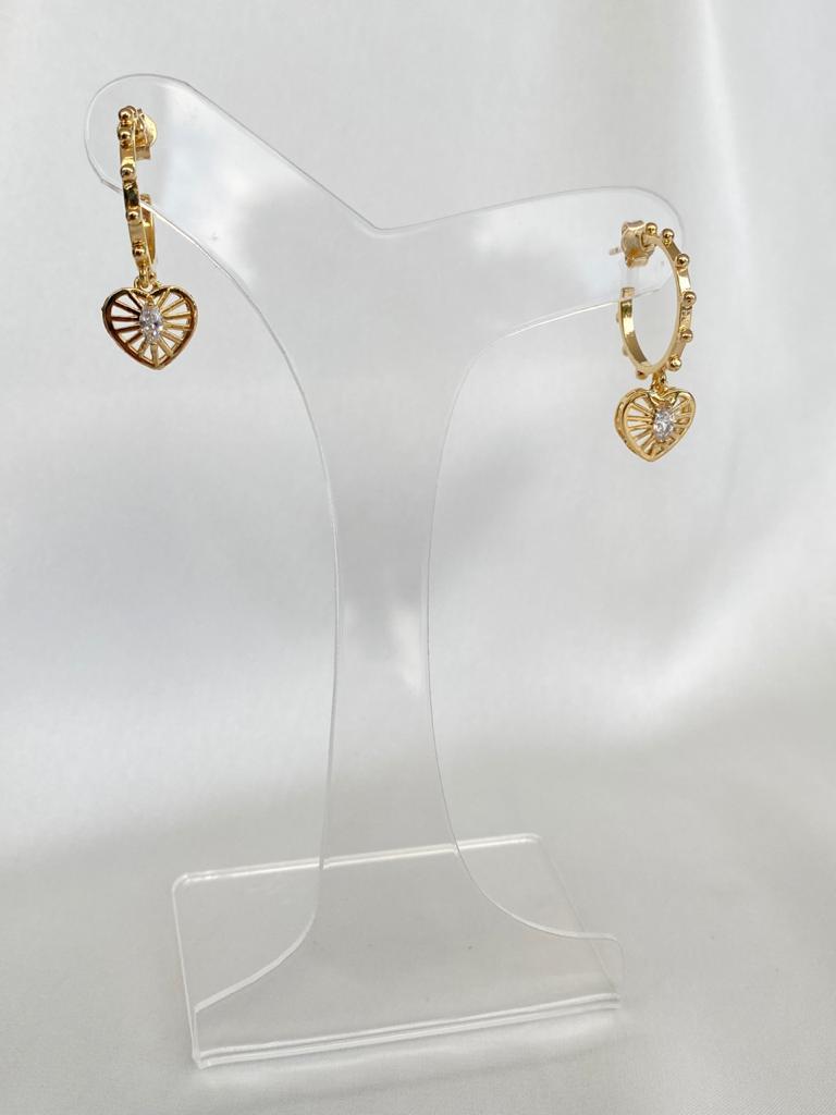 Argola   Dourado   Pingente Coração