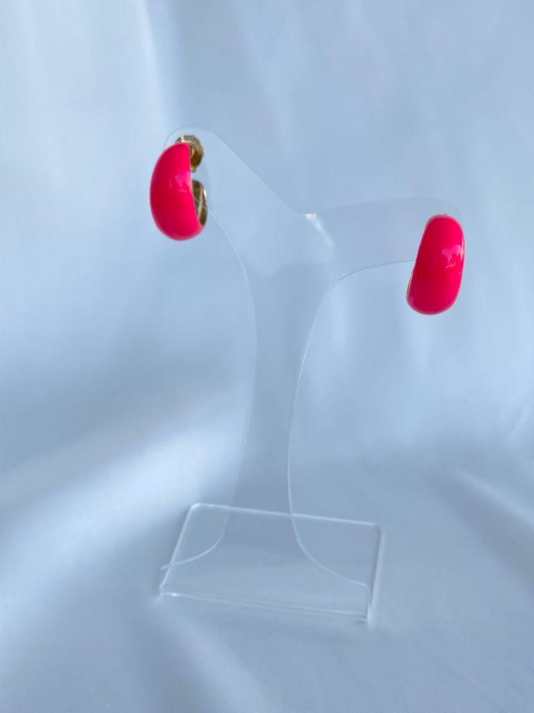 Argola | Esmaltada | Rosa Neon
