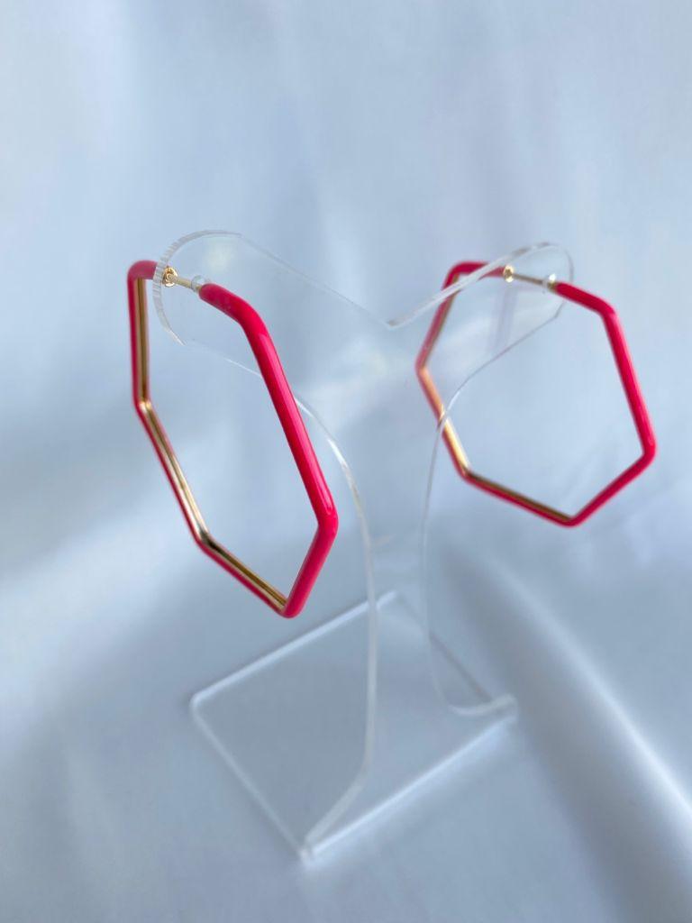 Argola   Hexagonal   Esmaltado   Rosa Neon