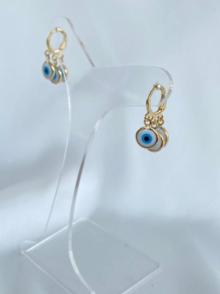 Argolinha | Dourado | Pingente Triplo | Olho grego