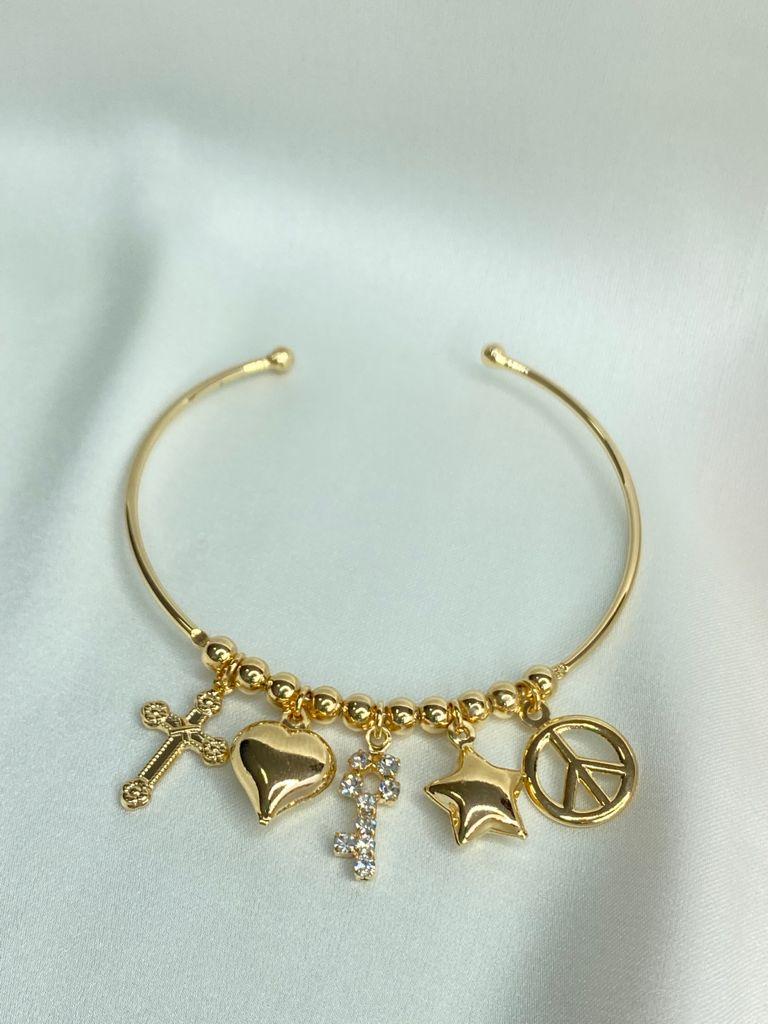 Bracelete   Dourado   Pingentes   Paz & Amor