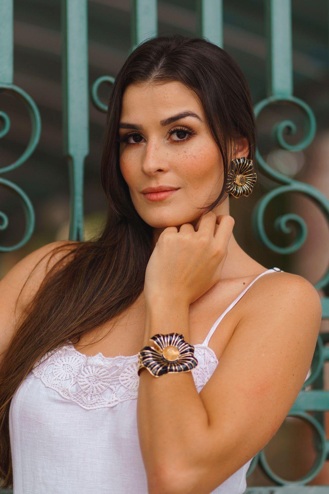 Bracelete | Esmaltado | Amor-Perfeito Preto