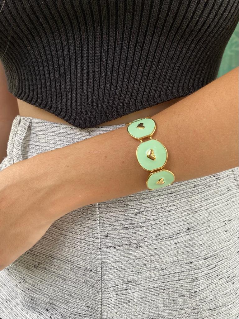 Bracelete   Esmaltado   Coração   Verde Menta
