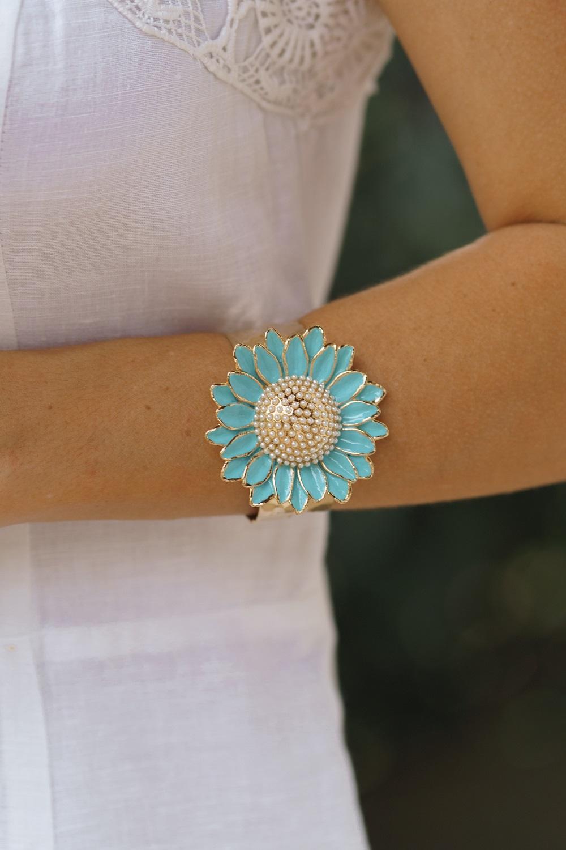 Bracelete   Esmaltado   Gérberas Azul