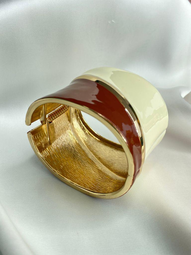 Bracelete | Esmaltado | Marfim & Marrom