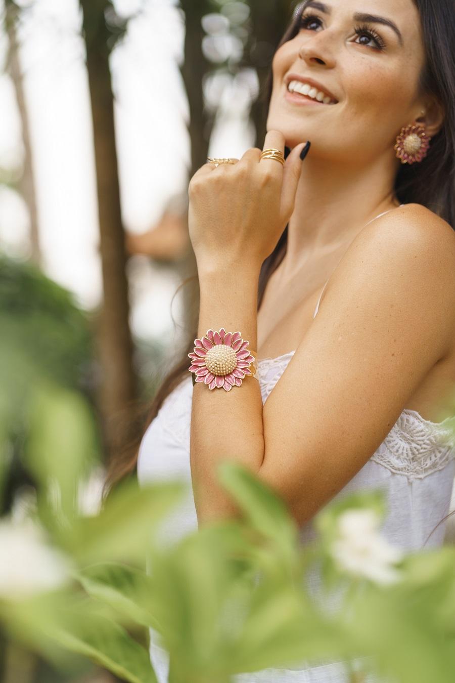 Bracelete | Esmaltado | Margarida Rosa