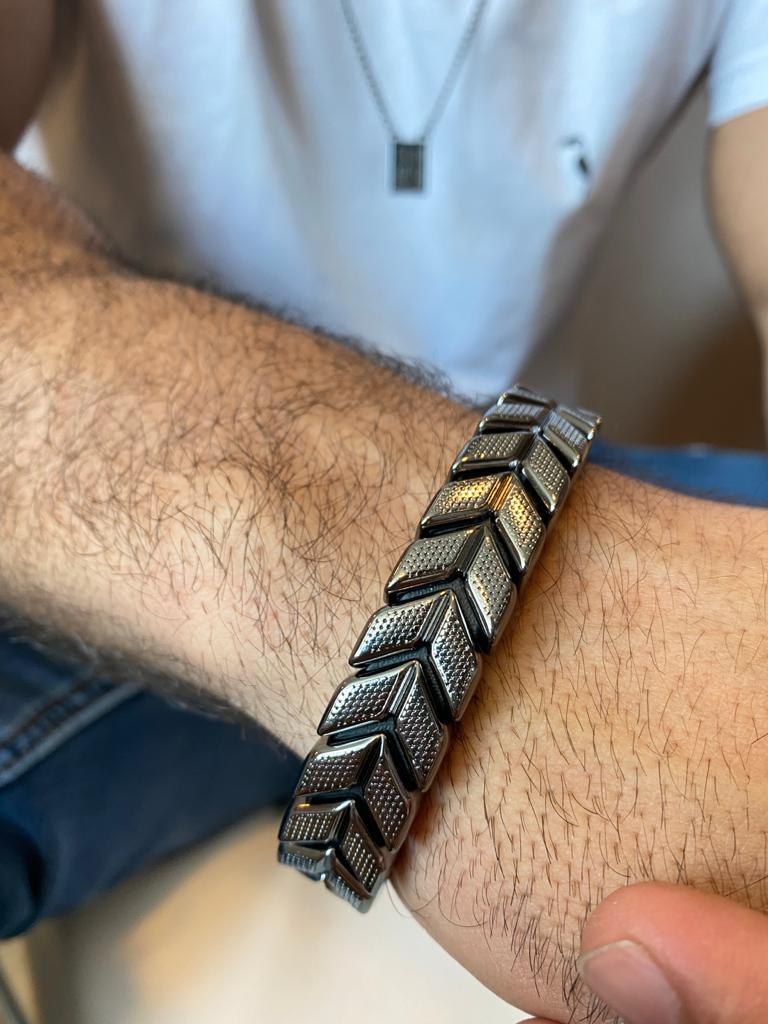 Bracelete | Masculino | Coroa de Laurel | Ródio Negro