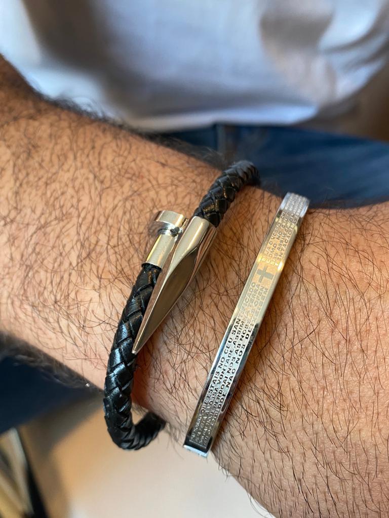 Bracelete | Masculino | Couro & Prata | Prego