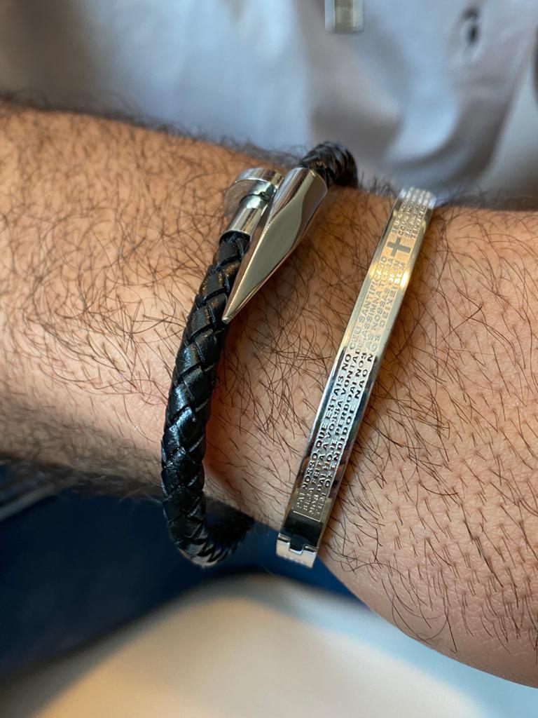 Bracelete | Masculino | Ródio Branco | Pai Nosso