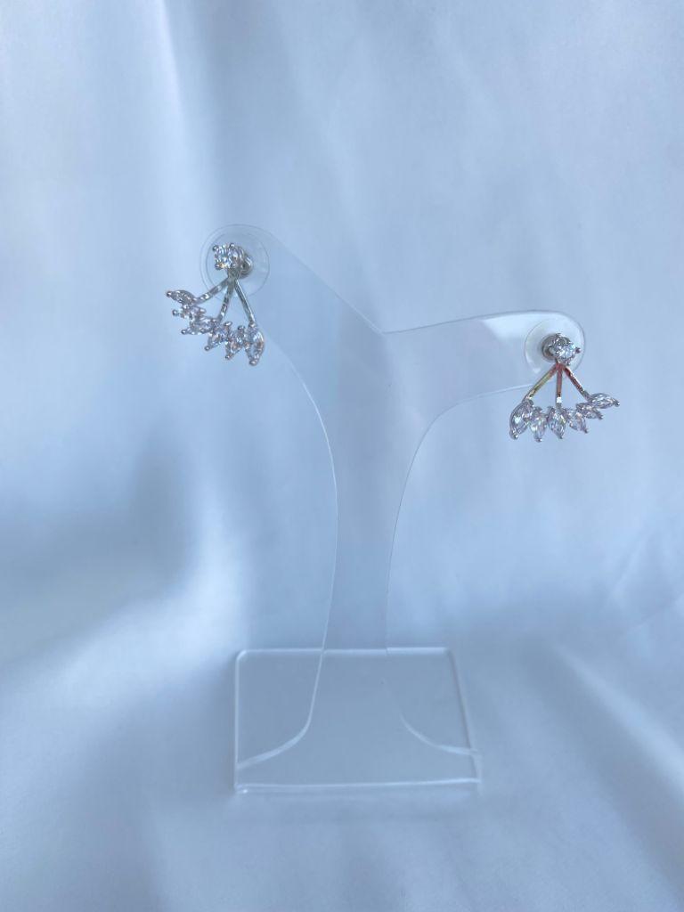 Brinco | Desmontável | Ródio Branco | Cravejado | Cristal