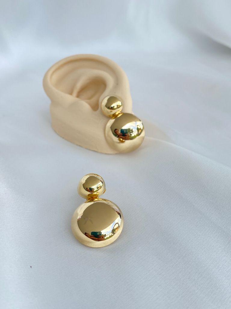 Brinco   Dourado   Desmontável   Duas Esferas
