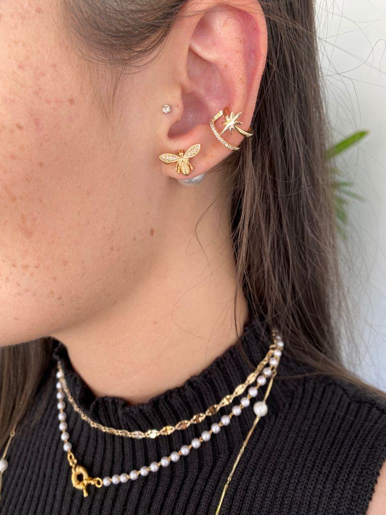 Brinco   Dourado   Pérola   Abelha   Inspiração Dior