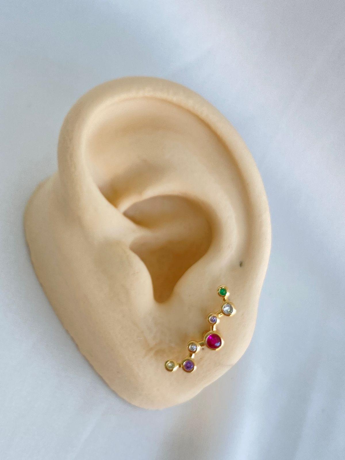 Brinco | Ear Cuff| Dourado | Constelação Rainbow