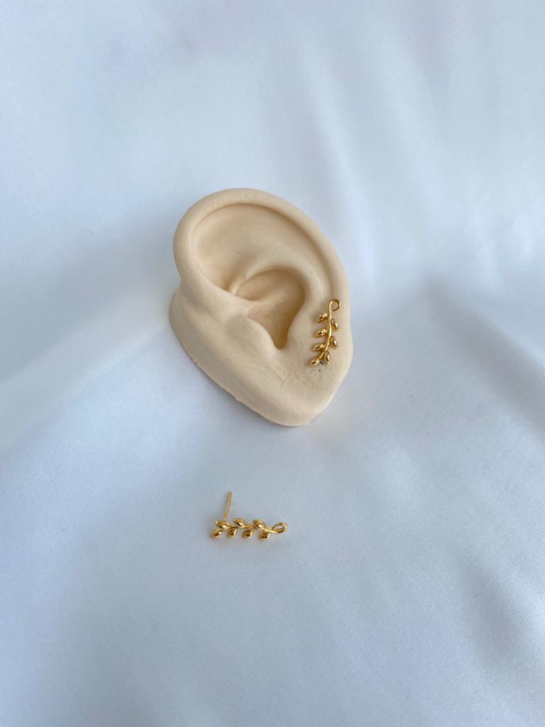 Brinco   Ear Cuff  Dourado   Folhas