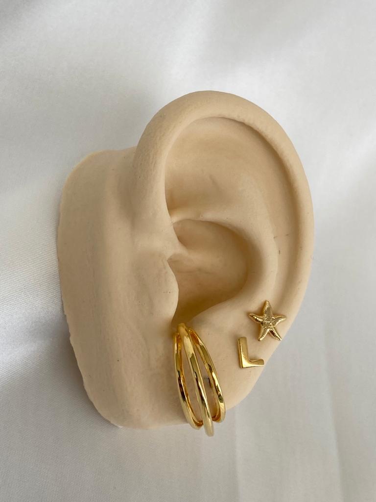 Brinco   Ear Hook   Dourado   Arco Triplo