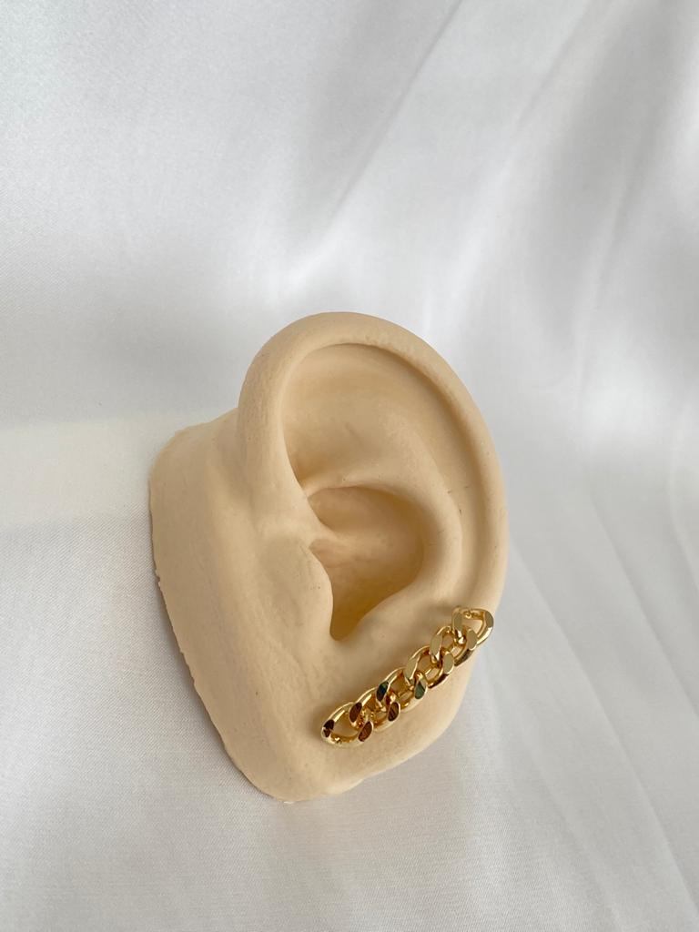 Brinco | Ear Hook | Dourado | Corrente