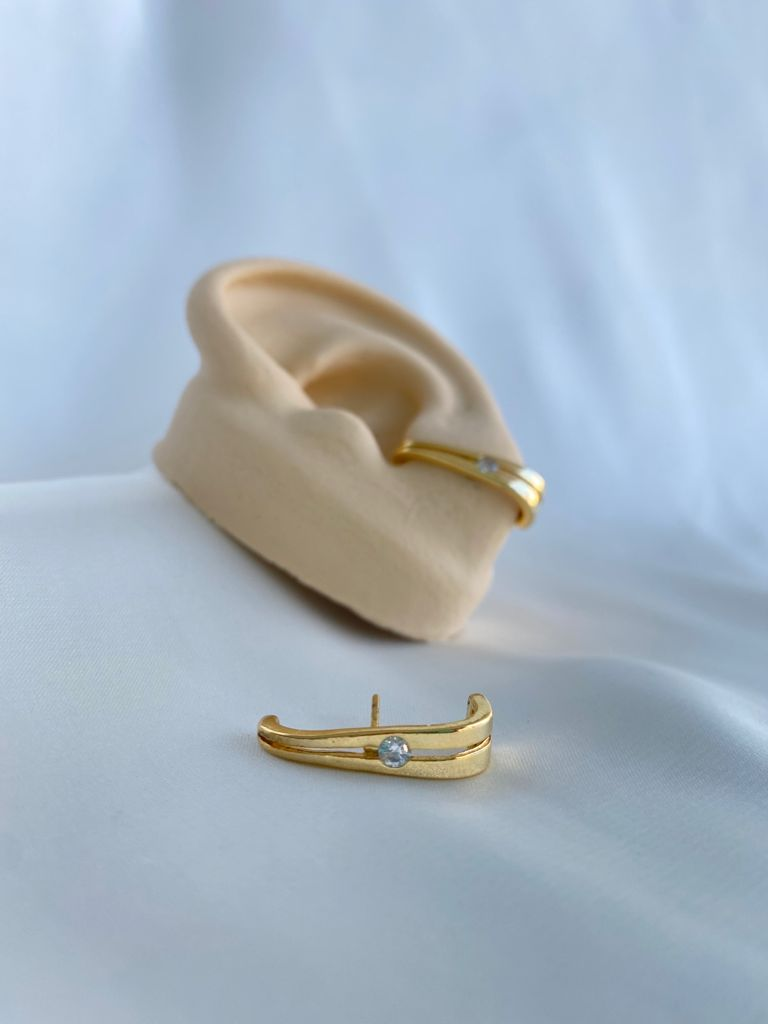 Brinco   Ear Hook   Dourado   Solitário Cristal