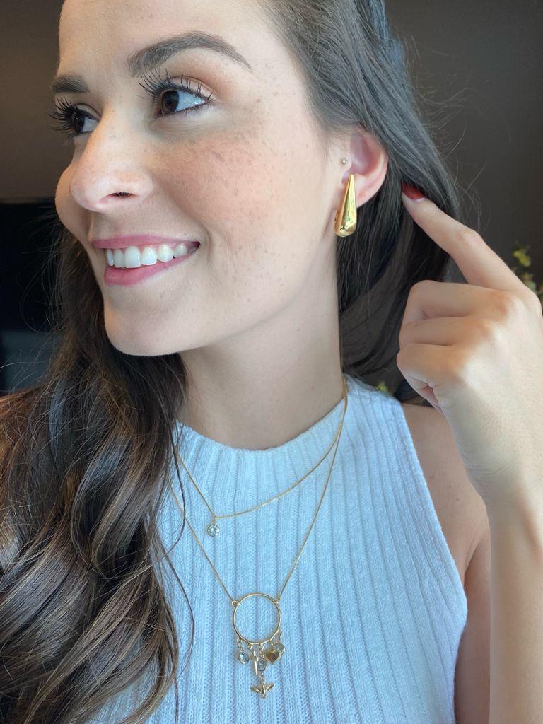 Brinco | Ear Hook | Gota | Dourado