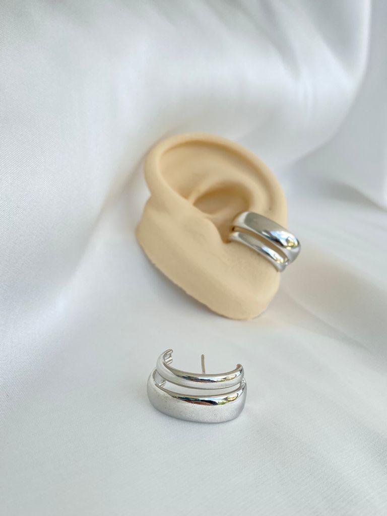 Brinco   Ear Hook   Ródio Branco   Arco Duplo
