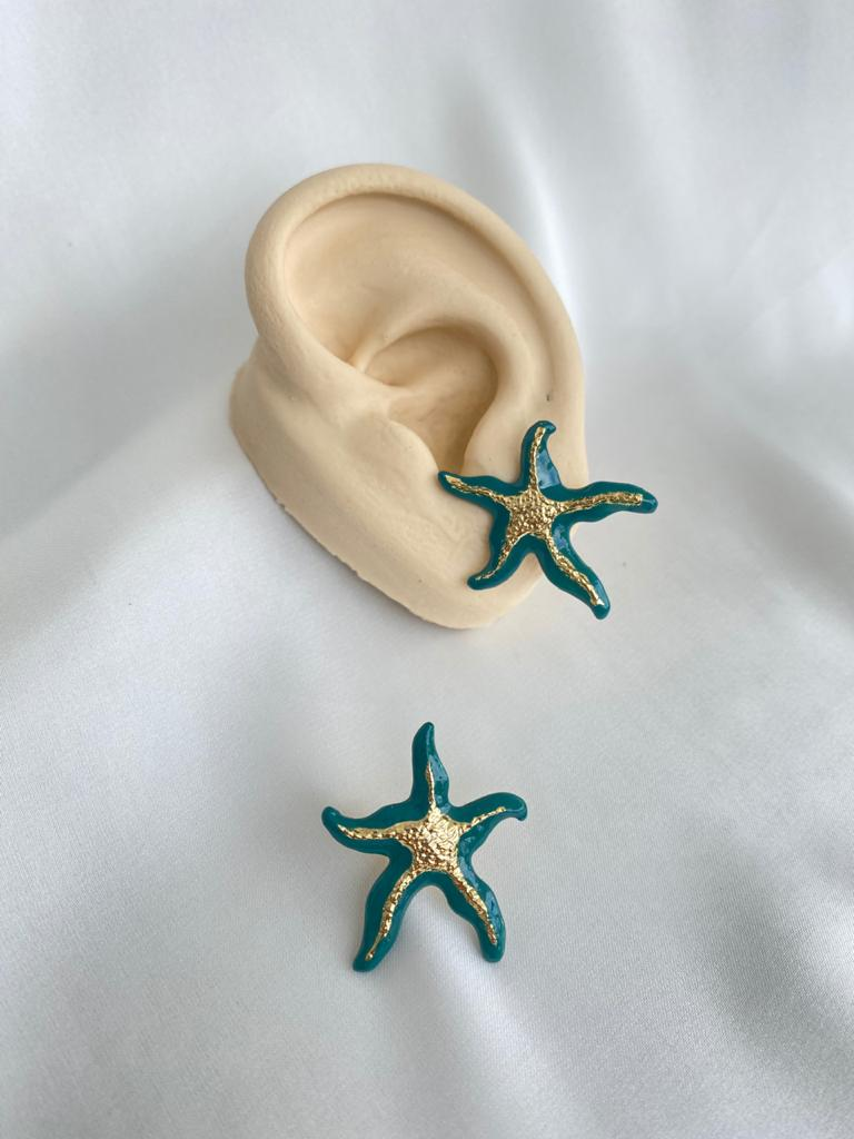 Brinco   Esmaltado   Estrela do Mar   Turquesa