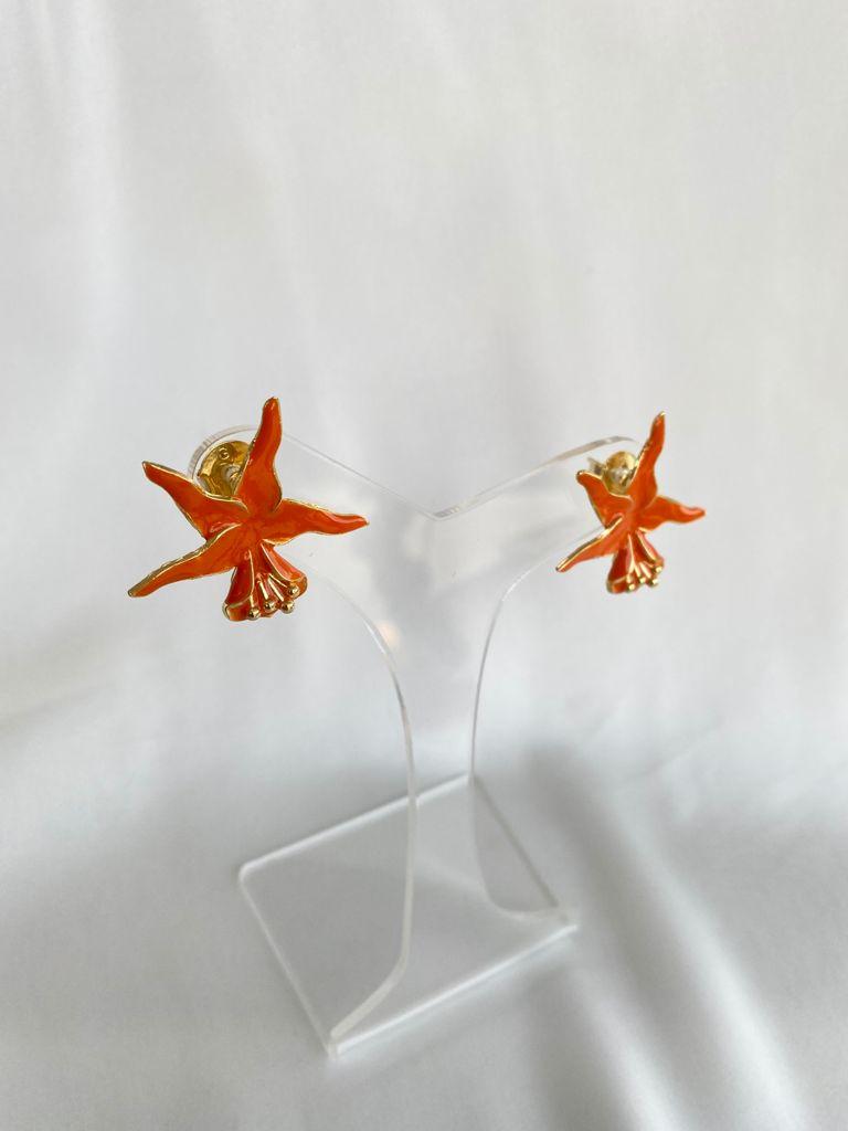 Brinco   Orquídea   Esmaltado   Laranja