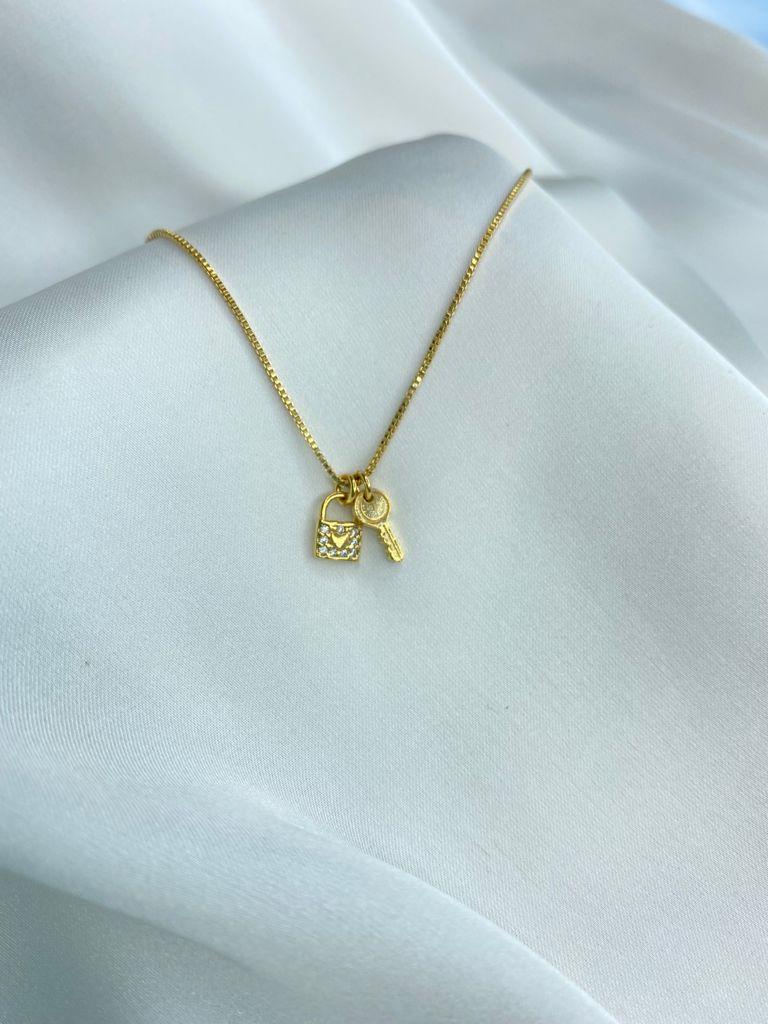 Colar | Dourado | Pingente Cadeado & Chave do Amor
