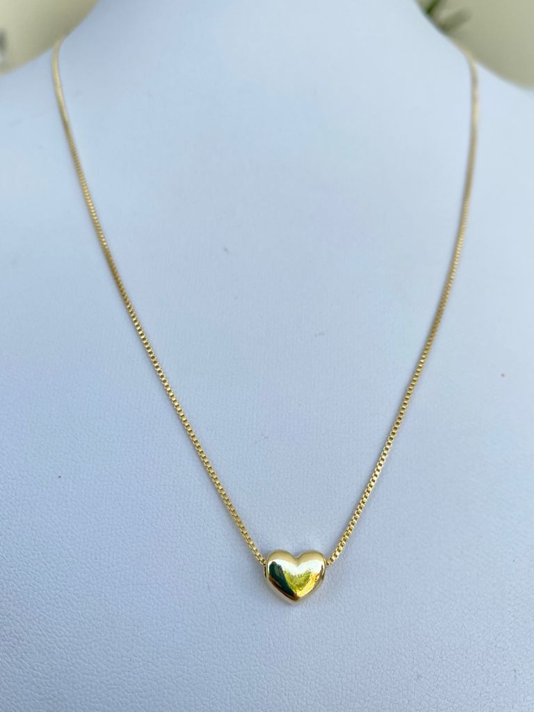 Colar | Dourado | Pingente | Coração