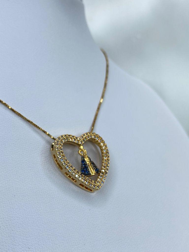 Colar | Dourado | Pingente Coração | Nossa Senhora | Cravejado