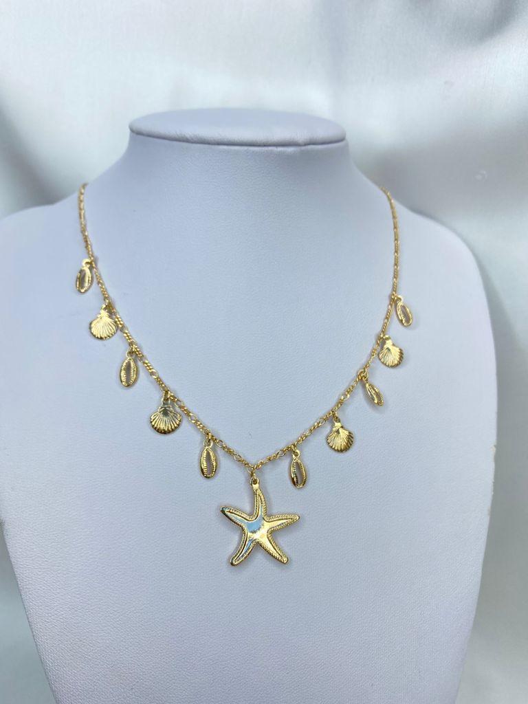 Colar | Dourado | Pingentes | Estrela do mar | Búzios