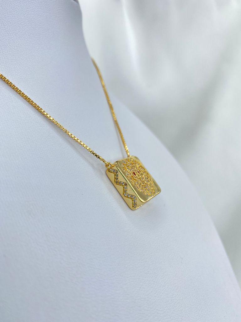 Colar | Gravatinha | Dourado | Leão | Cravejado
