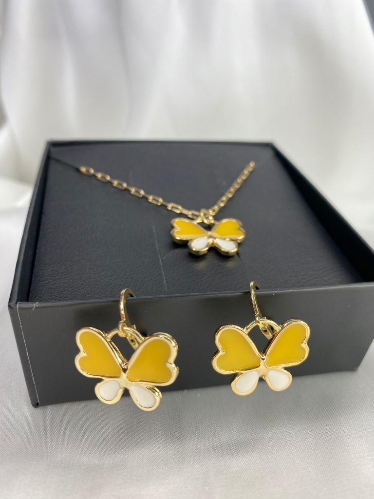 Conjuntinho   Infantil   Dourado   Borboleta   Amarelo