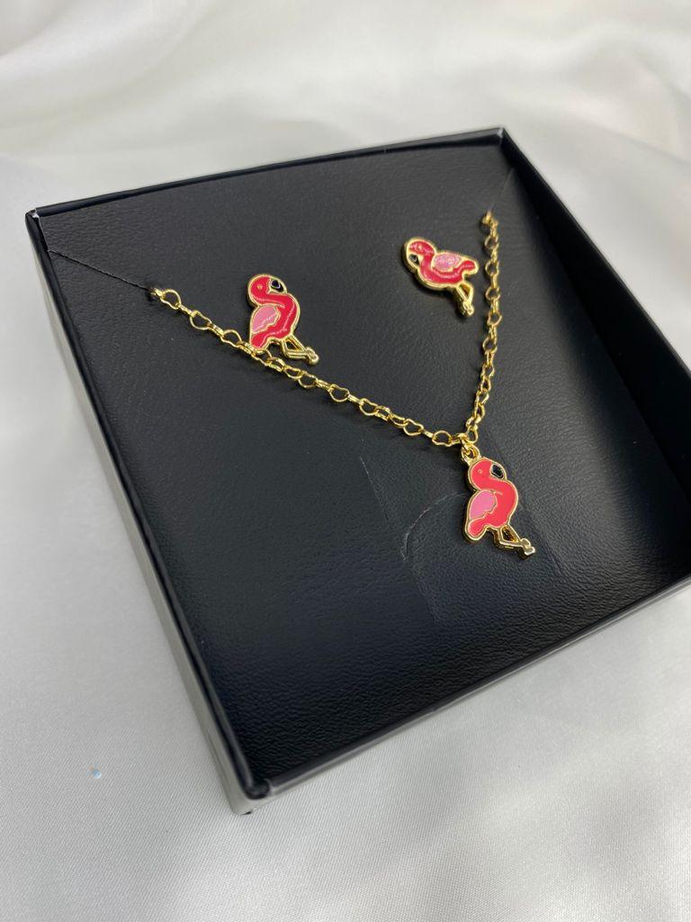 Conjuntinho   Infantil   Dourado   Flamingo