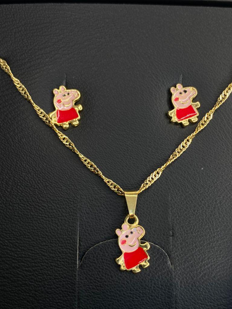 Conjuntinho | Infantil | Dourado | Peppa Pig