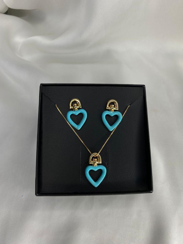 Conjuntinho   Infantil   Dourado   Pingente Coração   Azul