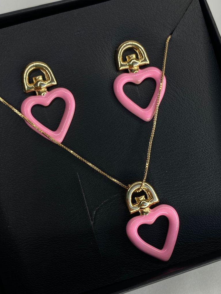 Conjuntinho | Infantil | Dourado | Pingente Coração | Rosa