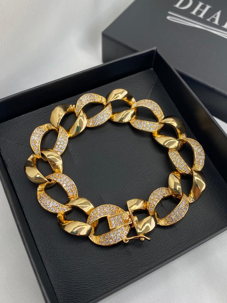 Conjunto London |Corrente Elos | Dourado | Cravejado | Cristal
