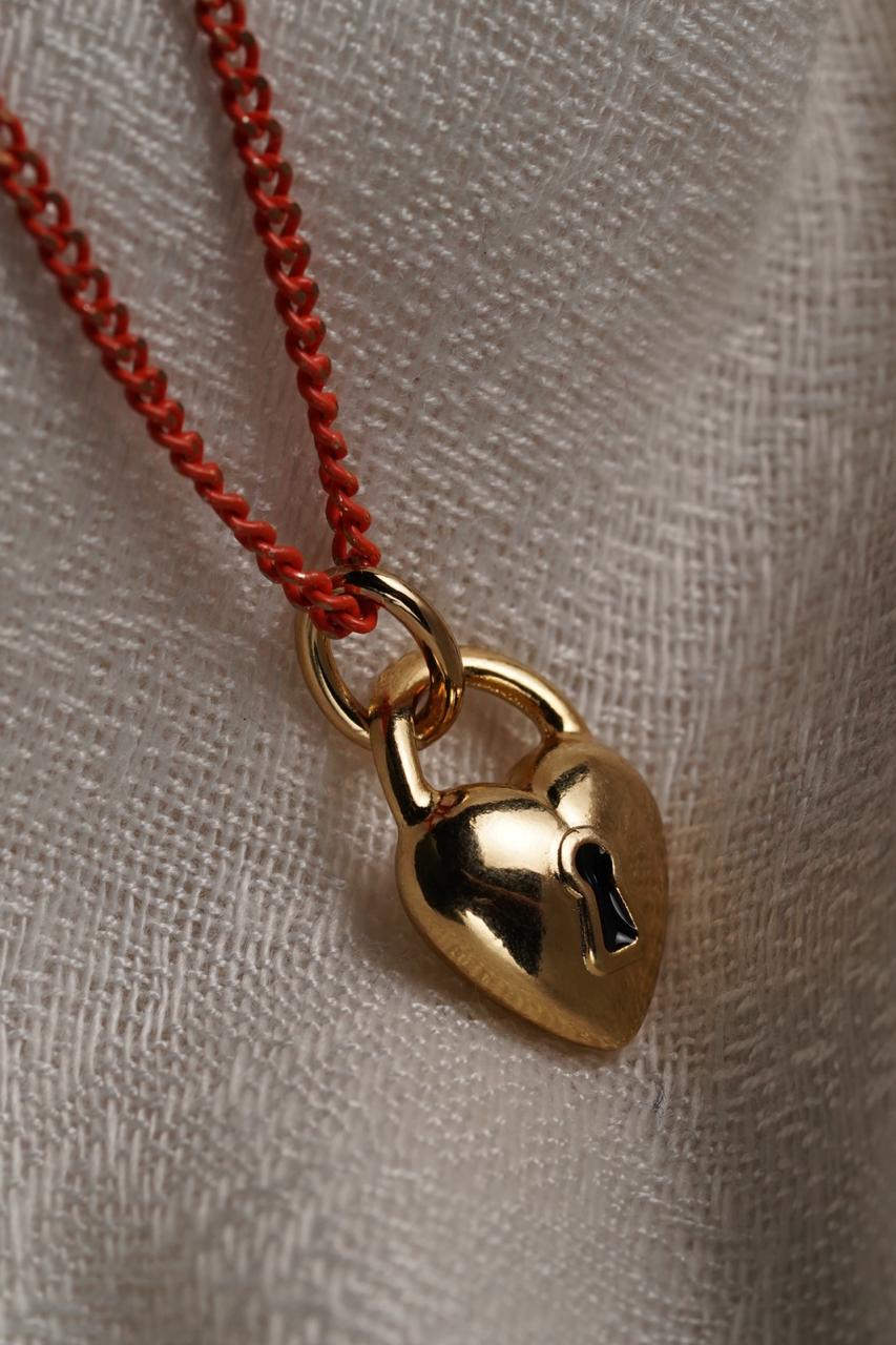 Corrente   Laranja   Pingente Coração