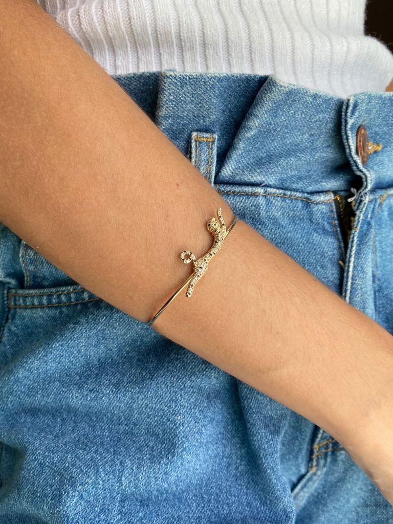 Bracelete   Dourado   Pantera   Cravejado