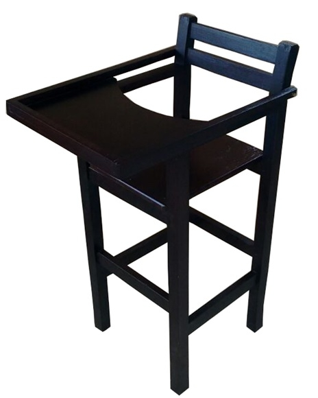 Cadeira de Bebe de Madeira Para Bar Preta CBC